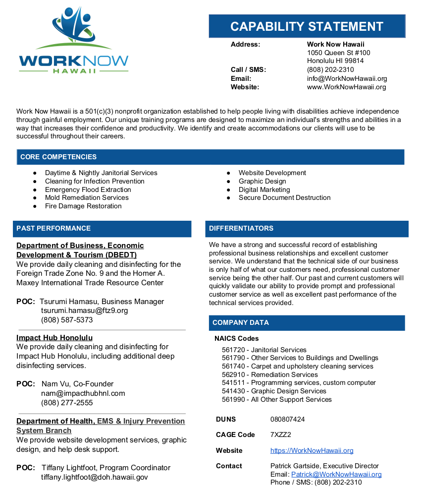 Capability Statement for Work Now Hawaii, click to open accessible PDF.