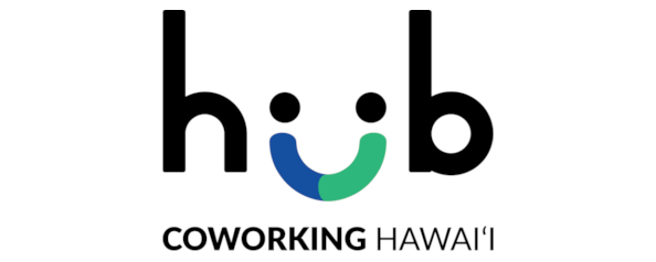 A logo for Hub Coworking Hawaii, and a link to their website.